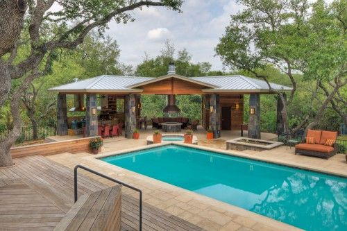 At The Edge Of The Pool A New C Shaped Cabana Shelters Three Separate Zones The Central Area Of The Caba Outdoor Gazebos Pool Houses Pool House Designs