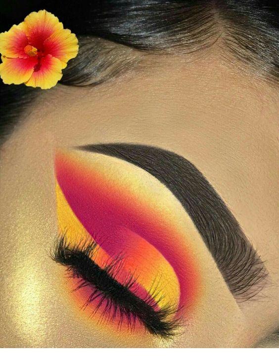 Yellow and pink eye makeup   Pink eye makeup
