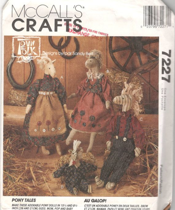 Mccalls 7227 Pony Tales Boy And Girl Pony Doll And Clothes Pattern