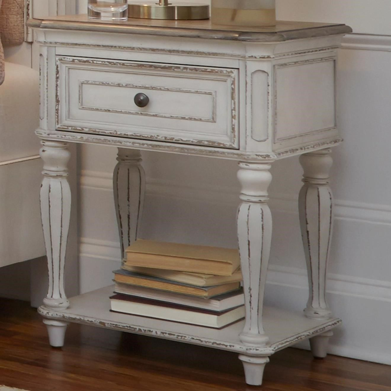 Magnolia Manor One Drawer Nightstand with Storage Shelf by