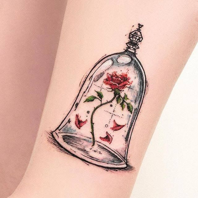 Beauty And The Beast Disney Tattoo Rose And Jar Tattoo Love