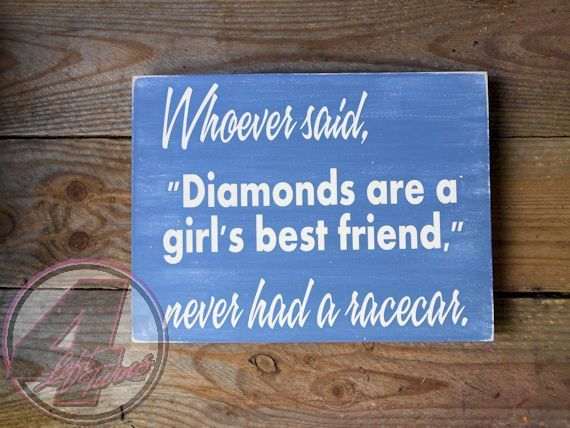 Diamonds and racecars are a girls best friend. #racing