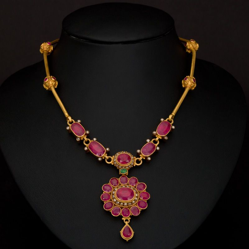 Temple Red Stone Gold Necklace | Inspiring Ideas | Pinterest ...