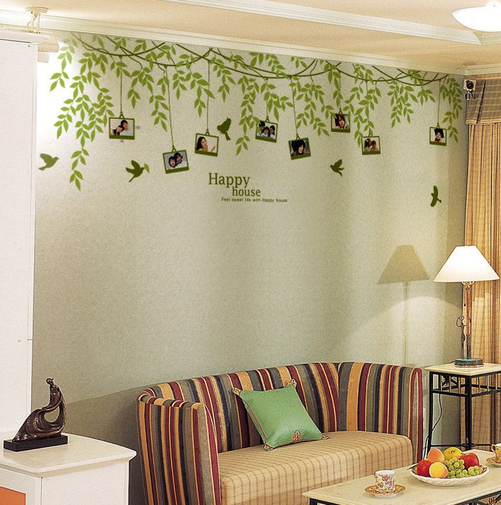 Photo Frames With Tree Vinyl Wall Decals Functional Design - Wall decals with picture frames