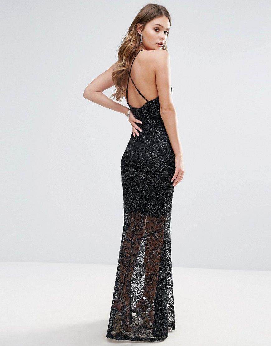 8071fd771e4 Lipsy Glitter Lace Fishtail Maxi Dress - Black
