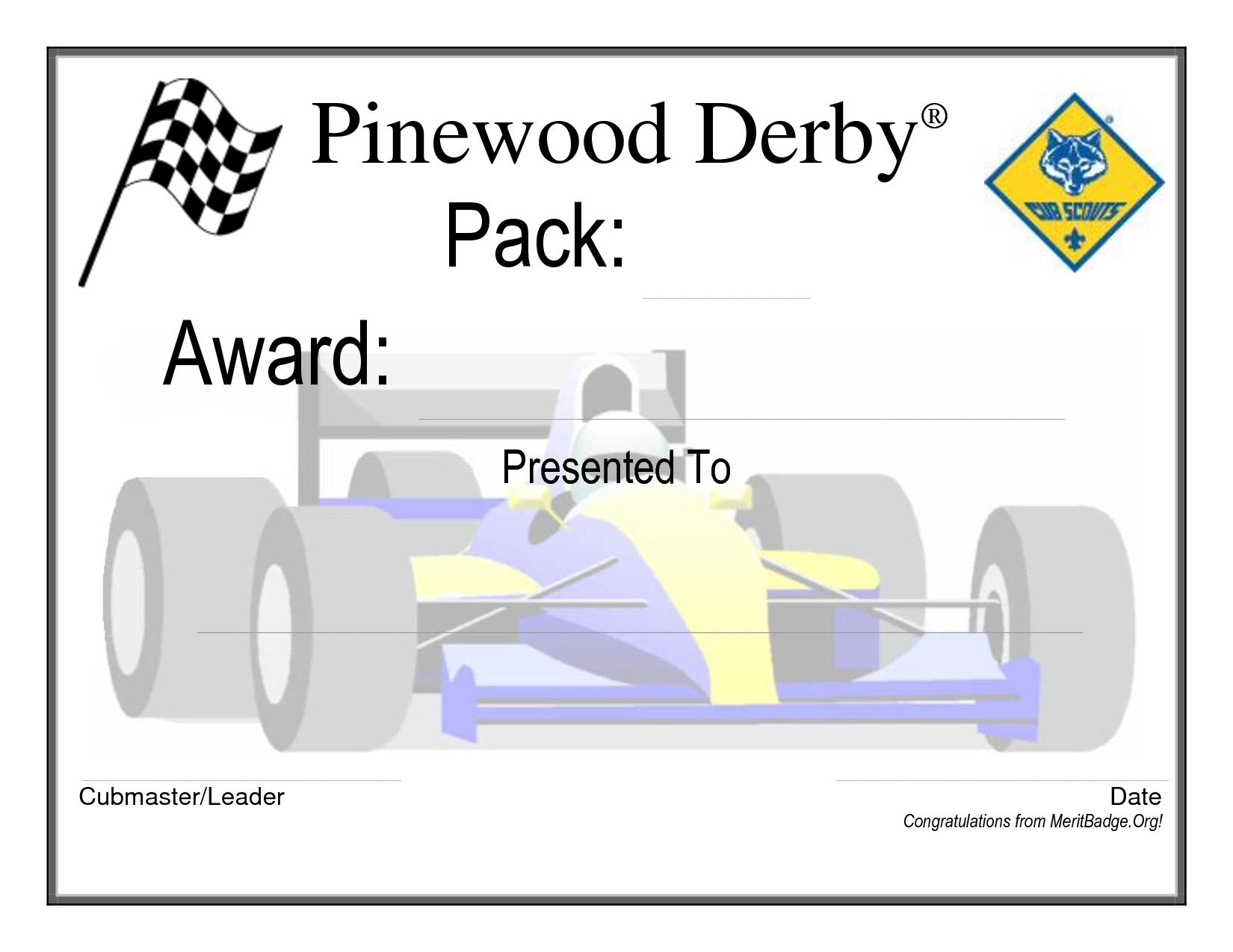 Pinewood Derby Certificate | Cub Scout & Boy Scout Ideas ...