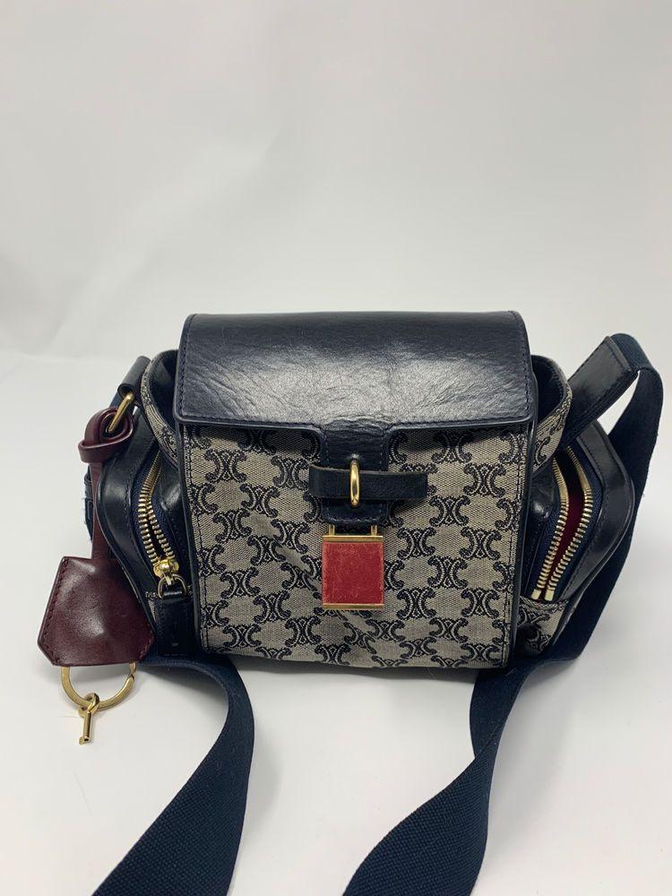 a2a9a5b13e4 Celine Vintage Monogram Mini Camera bag Black grey canvas Canvas Crossbody   1500  fashion  clothing