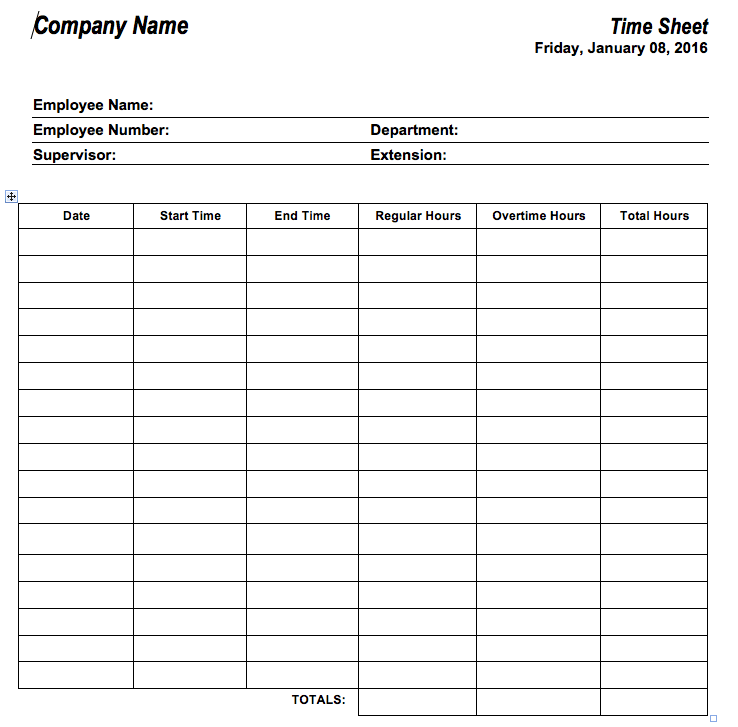 6 free timesheet templates for tracking employee hours home