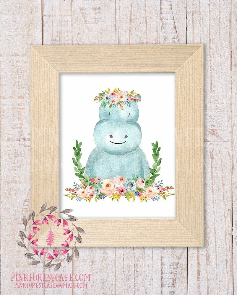 Nursery Prints Girl Hippo Zoo Boho Bohemian Garden Floral Nursery Baby Girl Room