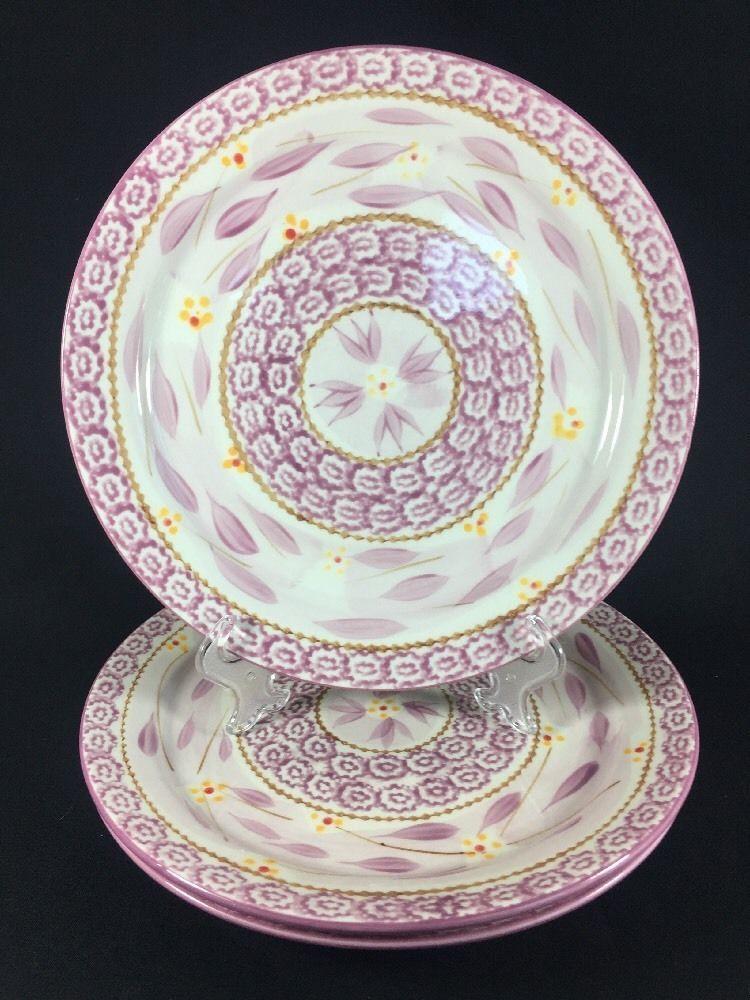 Temptation Old World by Tara Lilac Lavender Round Ceramic 3 Dinner plates # TEMPTATIONS & Temptation Old World by Tara Lilac Lavender Round Ceramic 3 Dinner ...
