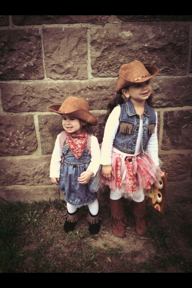 Halloween sisters , no sew tutu , add fringe to boots and vest - sisters halloween costume ideas