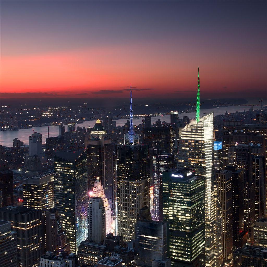 City View At Night Ipad Air Wallpaper New York Sunset Times Square New York New York Wallpaper