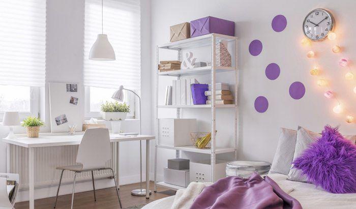 kinderzimmer komplett einrichten weiß mit lila akzente und deko - kinderzimmer kreativ gestalten ideen