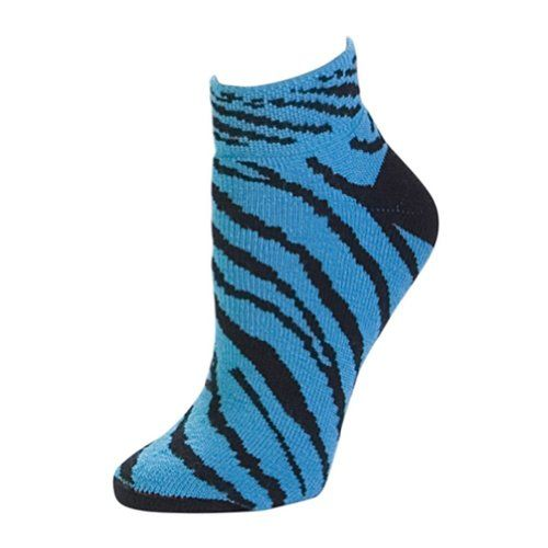 Pizzazz Women Turquoise Zebra Stripe Anklet Socks Cheer Dance 1112 >>> Click image to review more details.