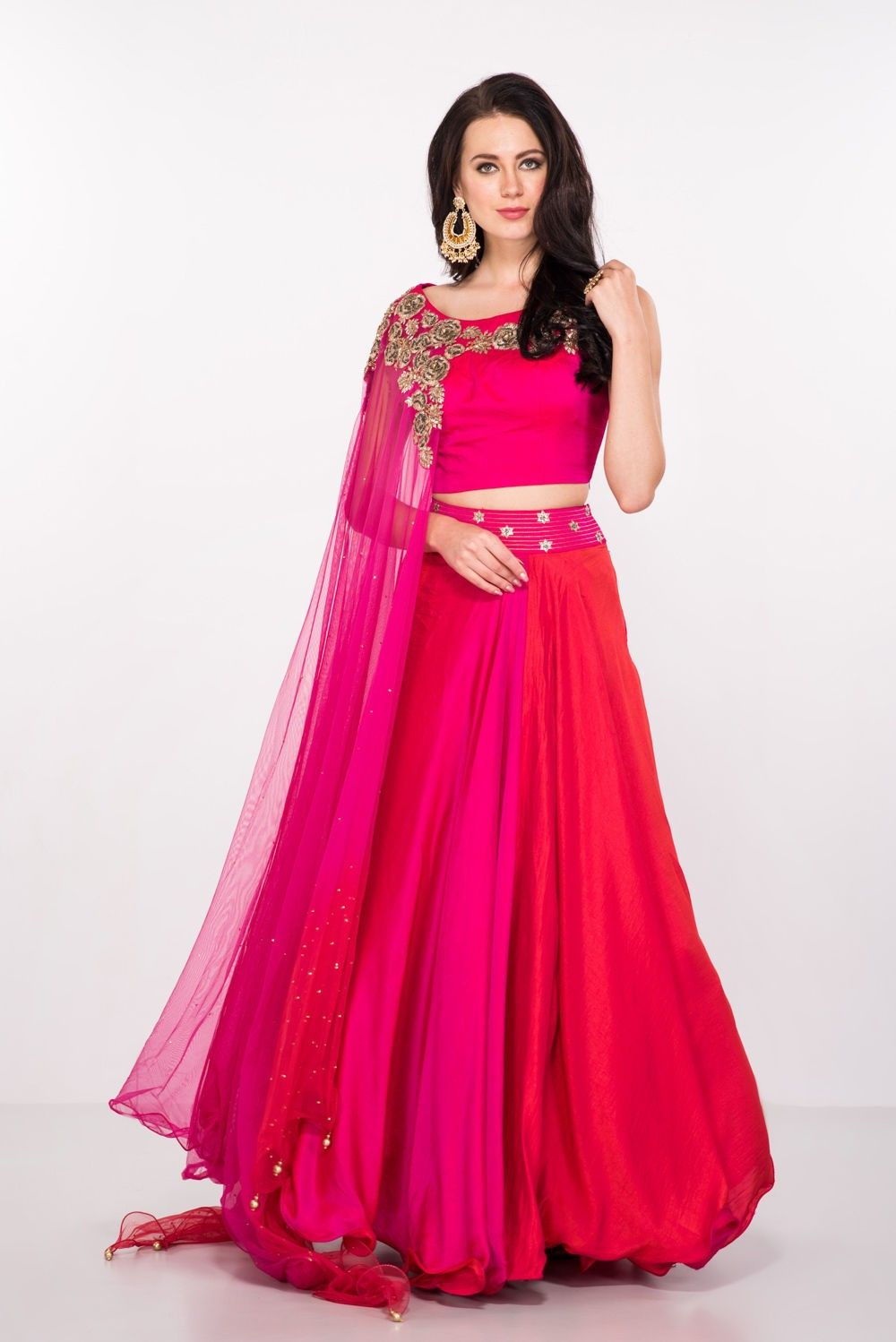 69584b47967692 Pink and orange lehenga with a an attached cape dupatta. | Indian ...