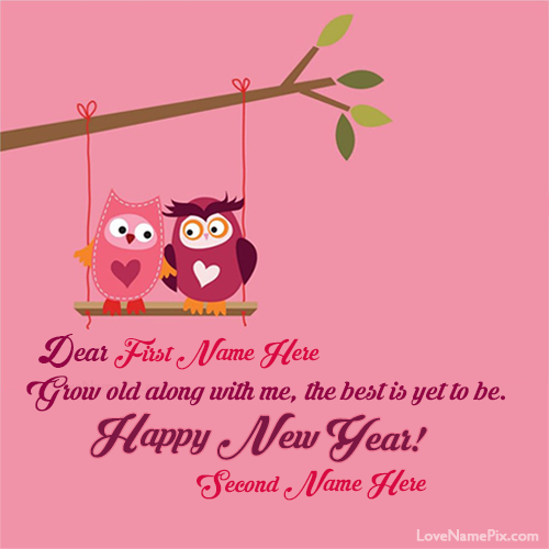 New Year Couple Quotes: Write Lovers Name On Cute New Year Wishes Card Images And
