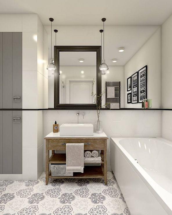 Ciekawa Aranżacja łazienki W Stylu Eklektycznym Z Subtelną