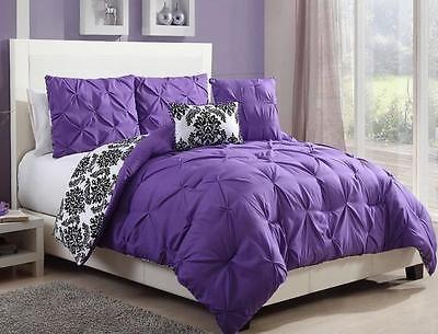 TEEN GIRLS Black White Purple REVERSIBLE PINTUCK DAMASK Comforter