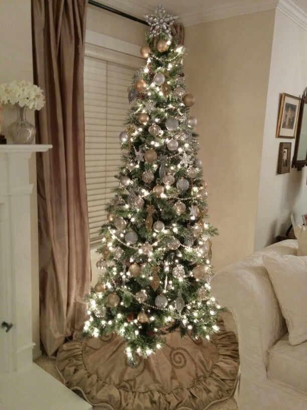 Elegant My Gold, Silver, Sparkle, Glitter, And Pearl Slim Christmas Tree