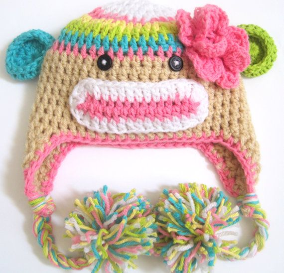 Rainbow Sock Monkey Hat for Girl\'s 2-3t | yarn items to make ...