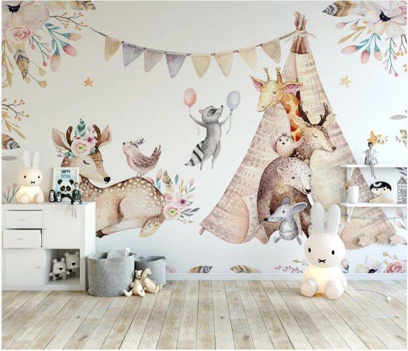 Watercolor Hand Drawn Cute Animal Wallpaper Peel And Stick Etsy Kids Room Wall Murals Playroom Wallpaper Boho Kids Decor