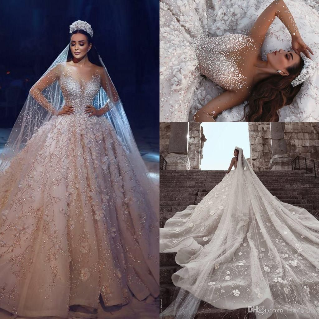 Luxury Long Sleeves Ball Gown Wedding Dresses Beaded 3d Floral Appliqued Sheer Wedding Dress Long Sleeve Ball Gown Wedding Dress Wedding Dresses Lace Ballgown