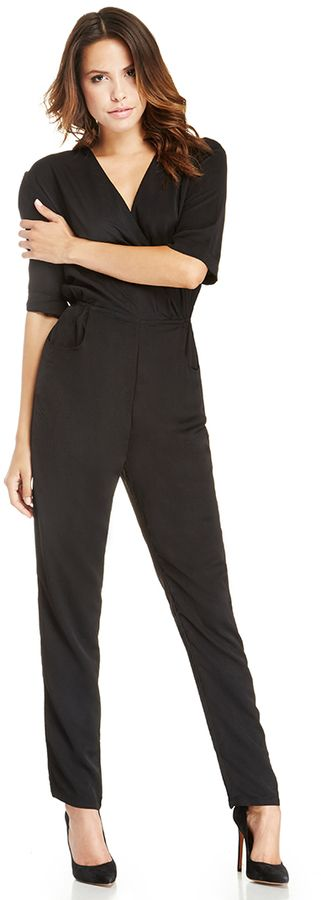 DAILYLOOK Mid Sleeve Structured Jumpsuit in black S - L #black #suit #jumpsuit #juliaroberts #fashion