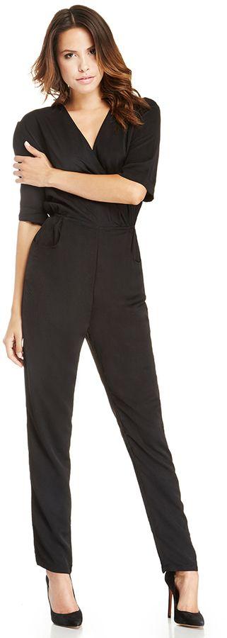 DAILYLOOK Mid Sleeve Structured Jumpsuit in black S - L #black #suit #jumpsuit #juliaroberts #fashion
