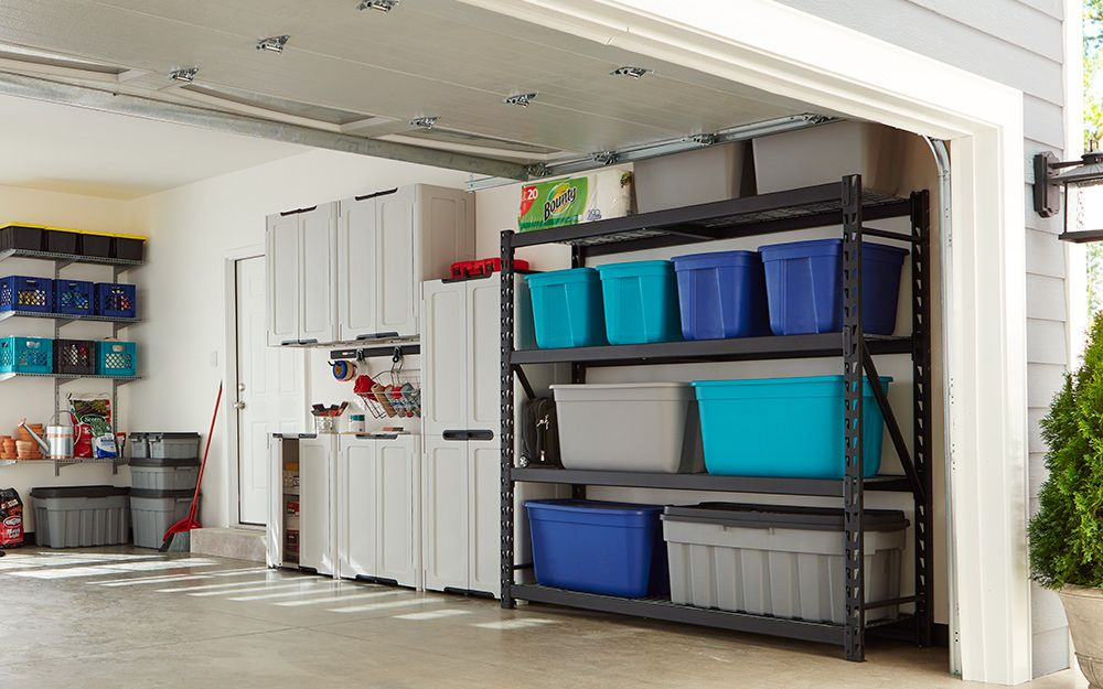 Garage Storage Garage Shelving With Plastic Storage Tubs Garage Storage Storage Tubs Workshop Storage