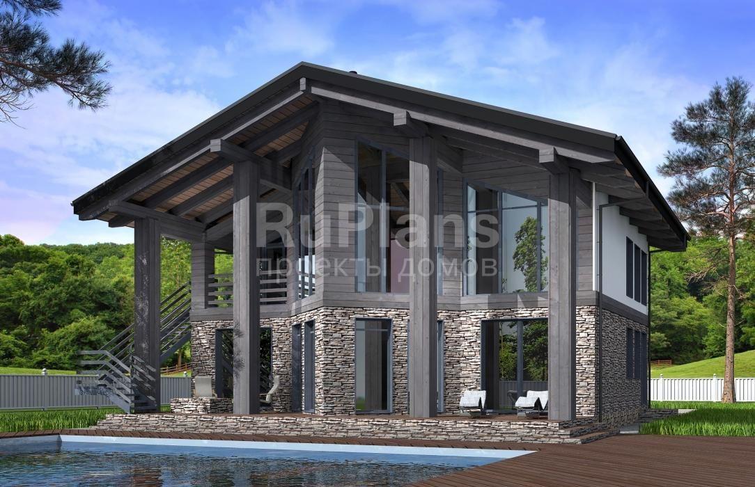 Дом с мансардой и террасой с размерами здания 12,1х13,21 м ...