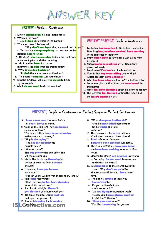 worksheet Verb Tense Review Worksheet present tenses review esl 2 pinterest worksheets verb review