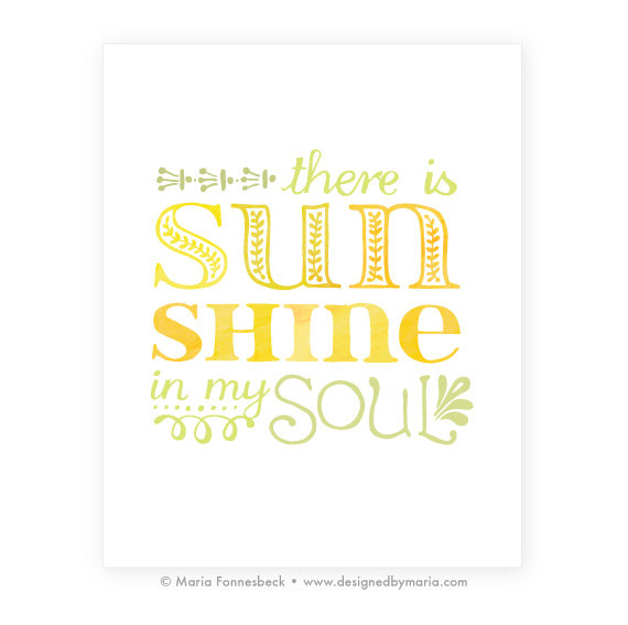 8 x 10 Sunshine Printable Art. via Etsy.