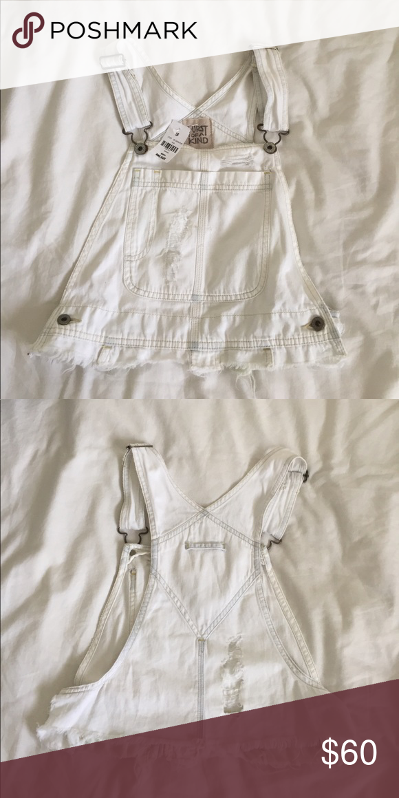 f25be6283 LF white distressed overall crop top Vintage overall white crop top ...
