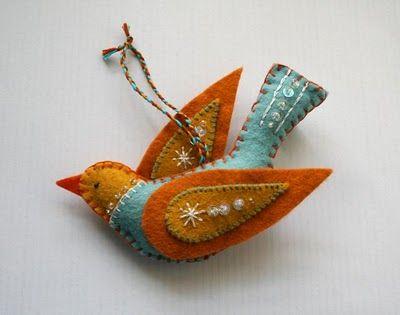 felt bird ornament