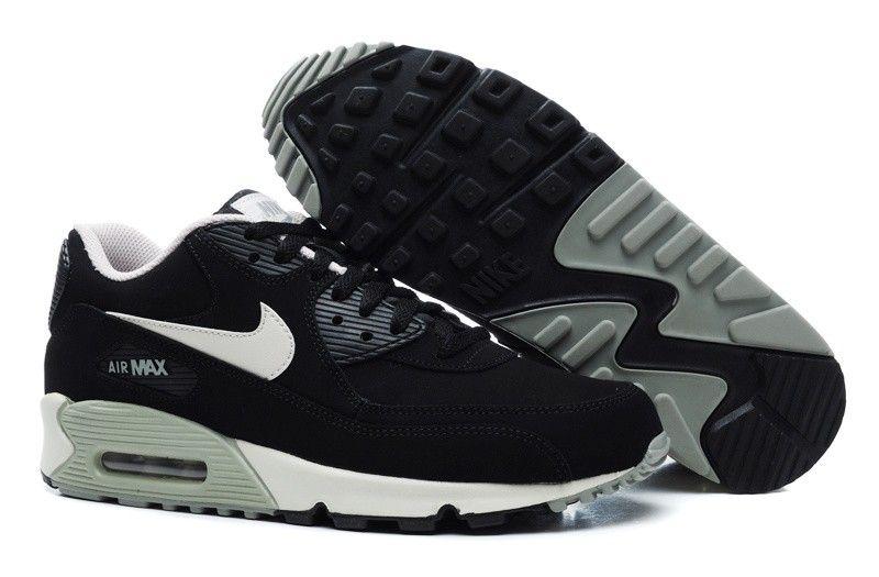 sports shoes 5fa23 b9349 Zapatos Nike Air Max 90 Essential Para Hombre De Cuero Negro Blanco  GrisrTHkXS 1