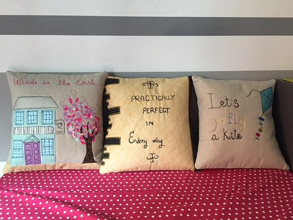 Mary poppins pillow di fairysew su etsy free motion applique