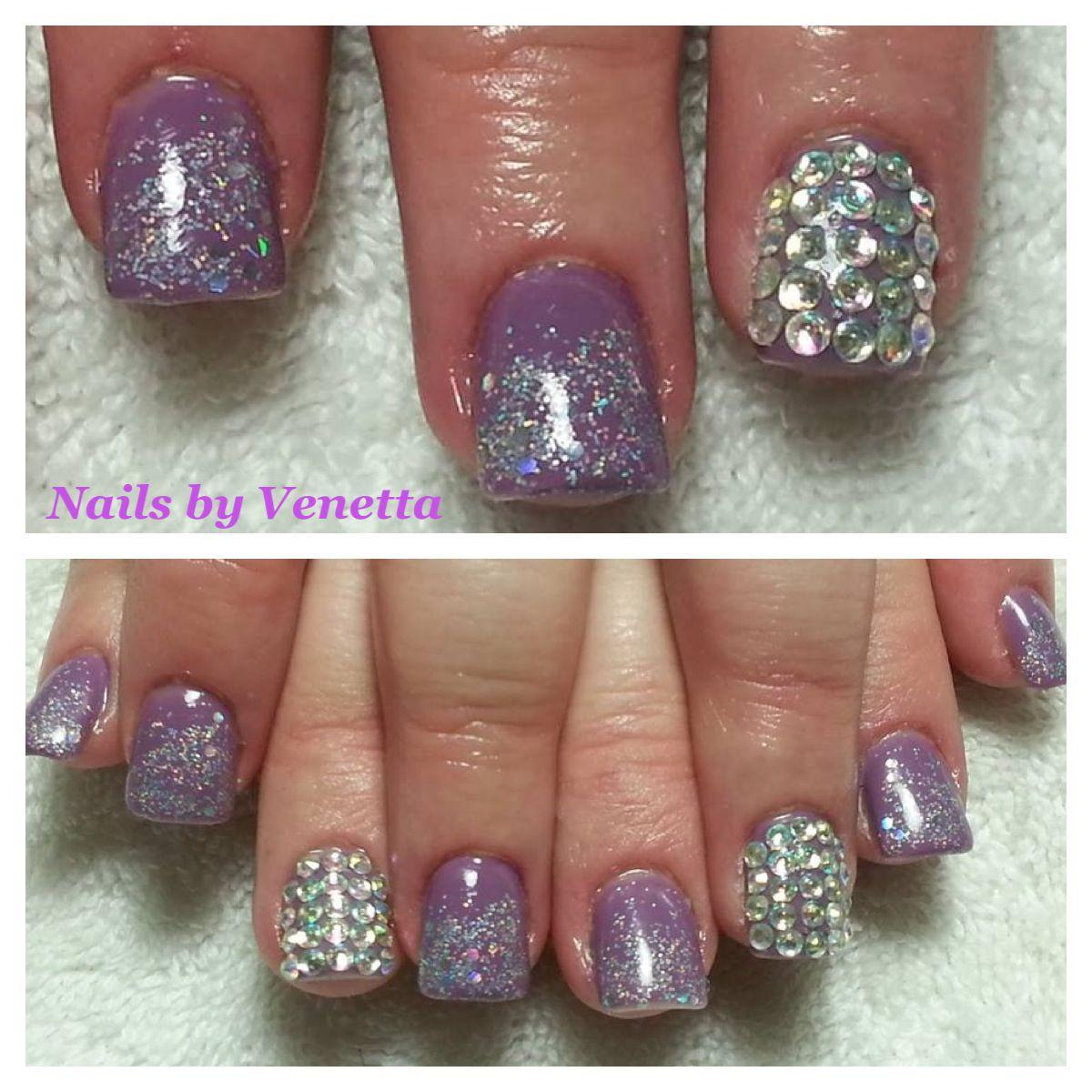 Kawaii, 3D Bling, Purple & Glitter Gel Polish on Acrylic Nails ...