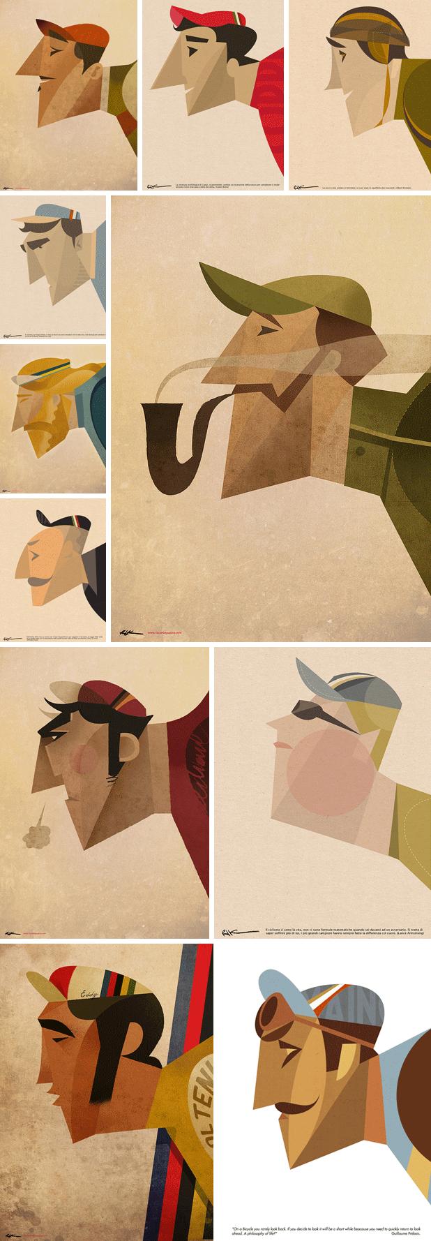 Dream team cyclist illustrations by Riccardo Guasco  #poster #flat #illustration http://www.artcoursework.com/illustration.html