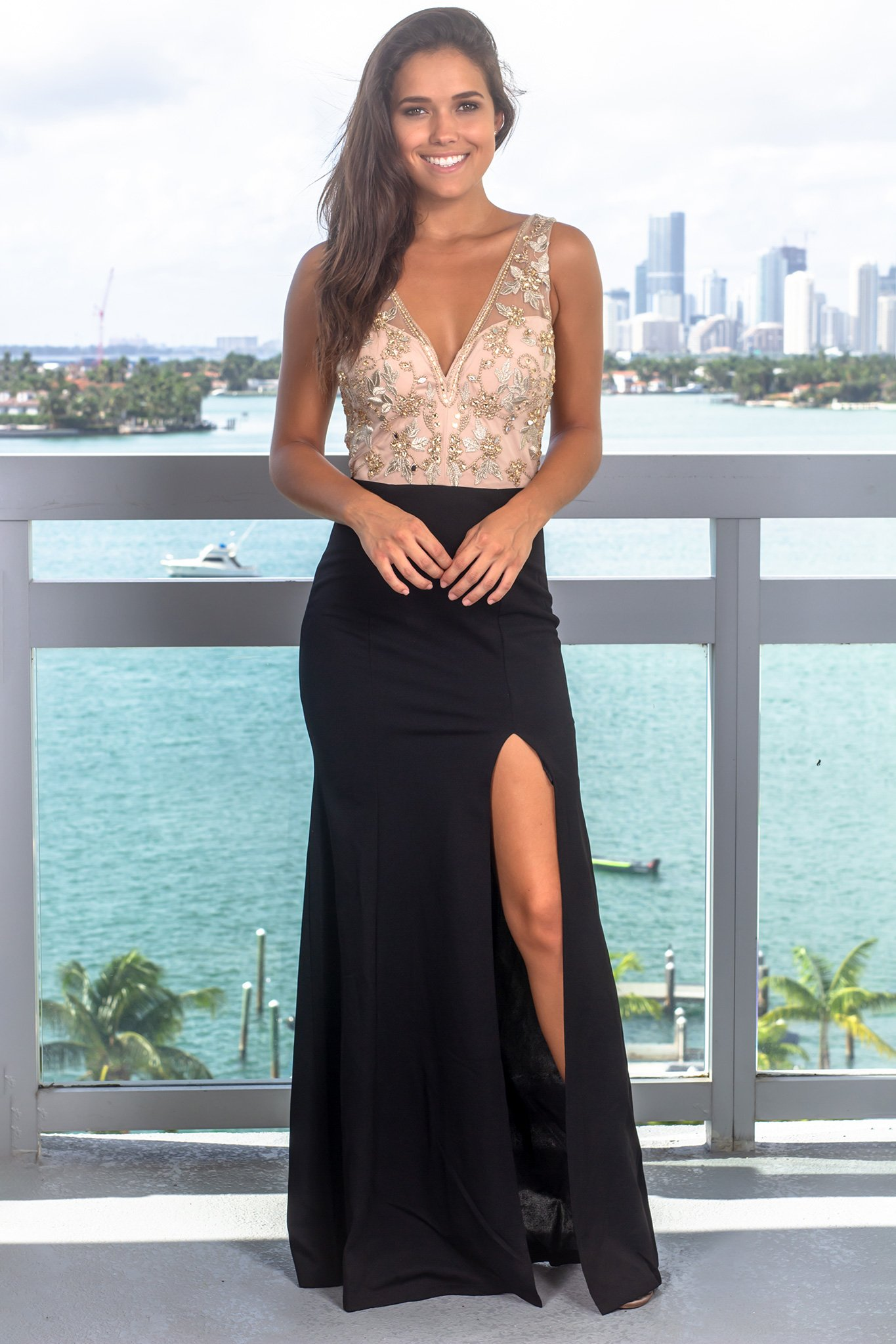 32dc60f4e8ec Black and Nude Maxi Dress with Jewel Detail in 2019 | Clothes 2018 ...