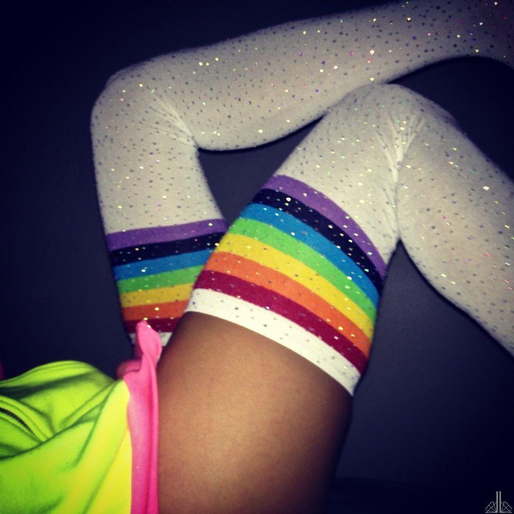 756e7477a35 crystallized thigh highs socks with rainbow stripes.