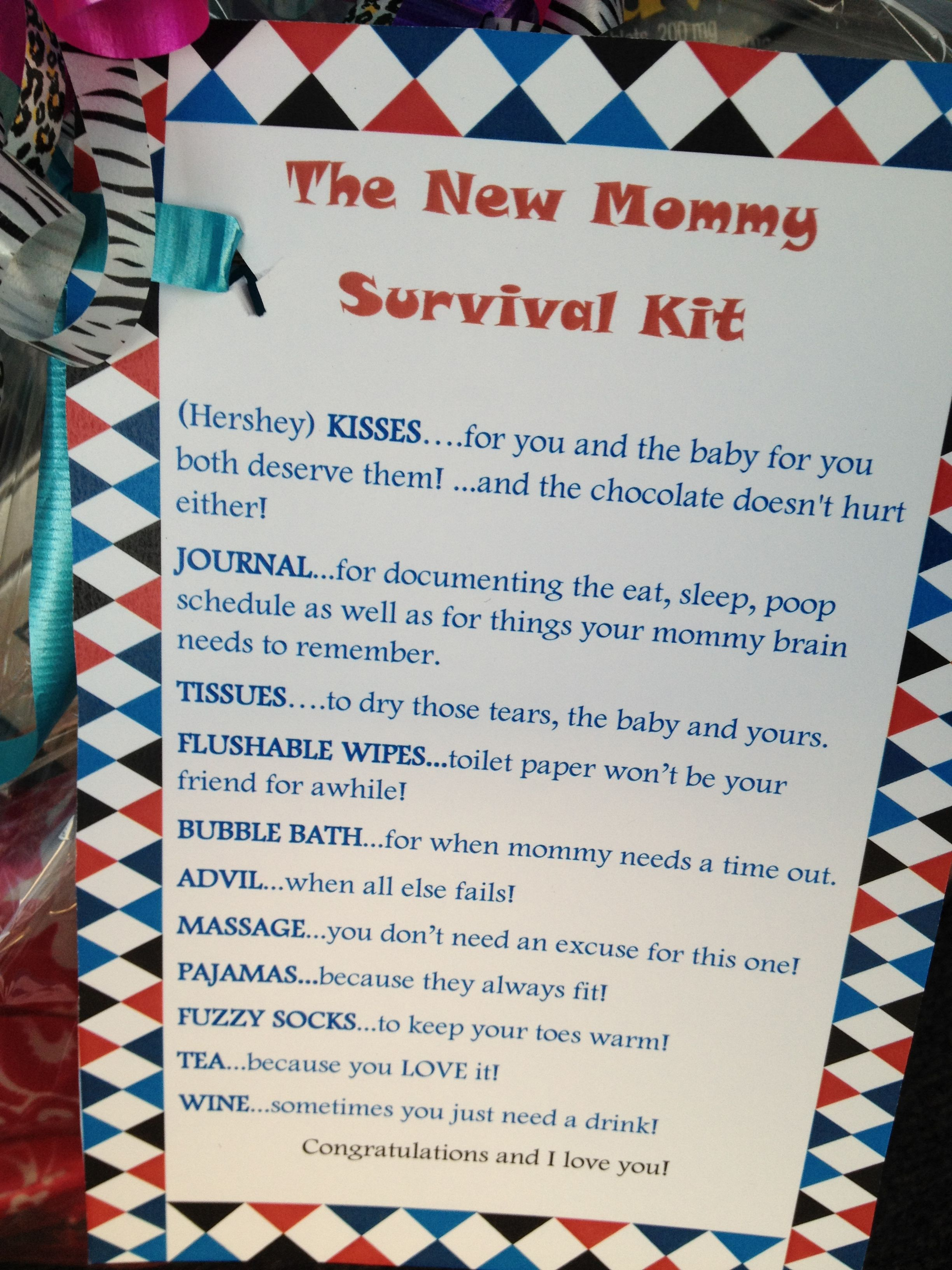 new mommy survival kit perfect for a baby shower type out the type out the card put it on cute scrapbooking paper get the items together put it in a basket and wrap it up