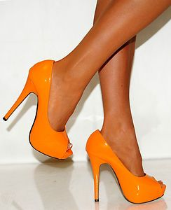 ded13061fe Ladies Womens Bright Orange Tangerine Patent Leather Peep Toes High Heels  Shoes | eBay