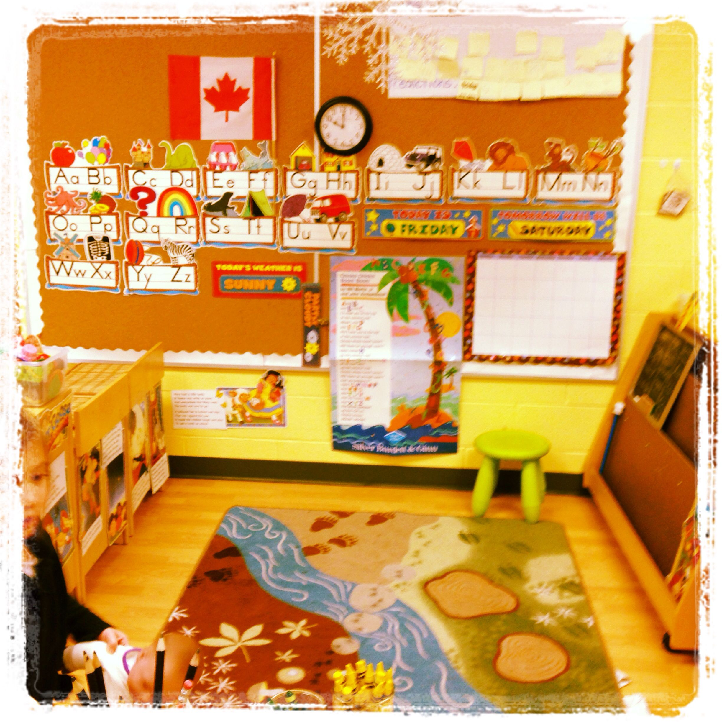Dramatic play centre based on an early 21st century classroom.