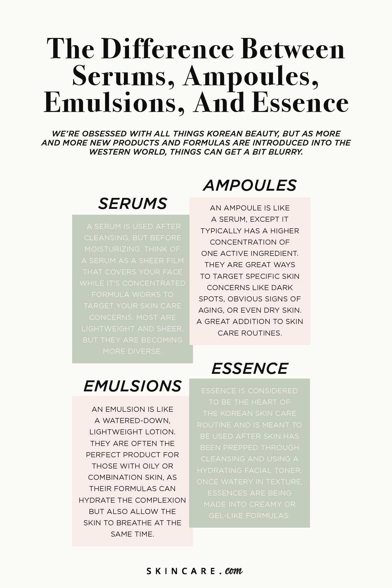 Do You Know The Difference Between All Staple K Beauty Products Between Serums Ampoules Emulsions And Esse Skin Care Regimen Skin Care Routine 40s Skin Care