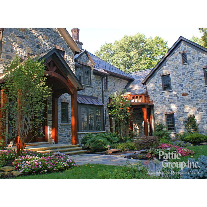 Front House Design With Rustic Wood Accents And Stone The Pattie Group Inc Cleveland Oh Www Pattiegroup Com House Front House Design Landscape Design