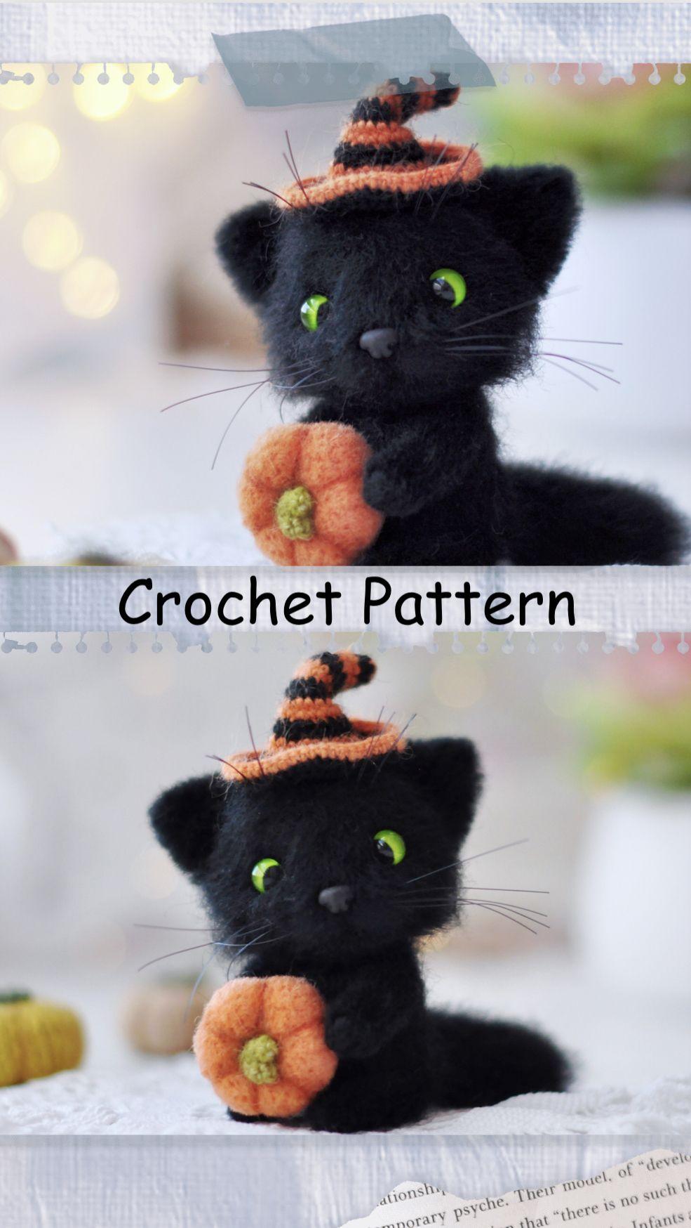 Cat Crochet Pattern Crochet Kitty Cat Pattern Amigurumi Cat Halloween Cat Crochet Kitten Realistic Cat Crochet Pattern Crochet Pumpkin In 2020 Crochet Patterns Diy Crochet And Knitting Crochet