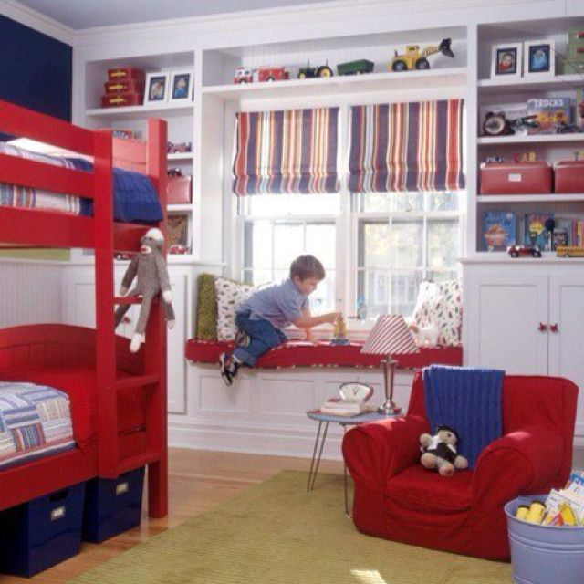 Boys Bedroom window seat and shades. would want drawers beneath for storage