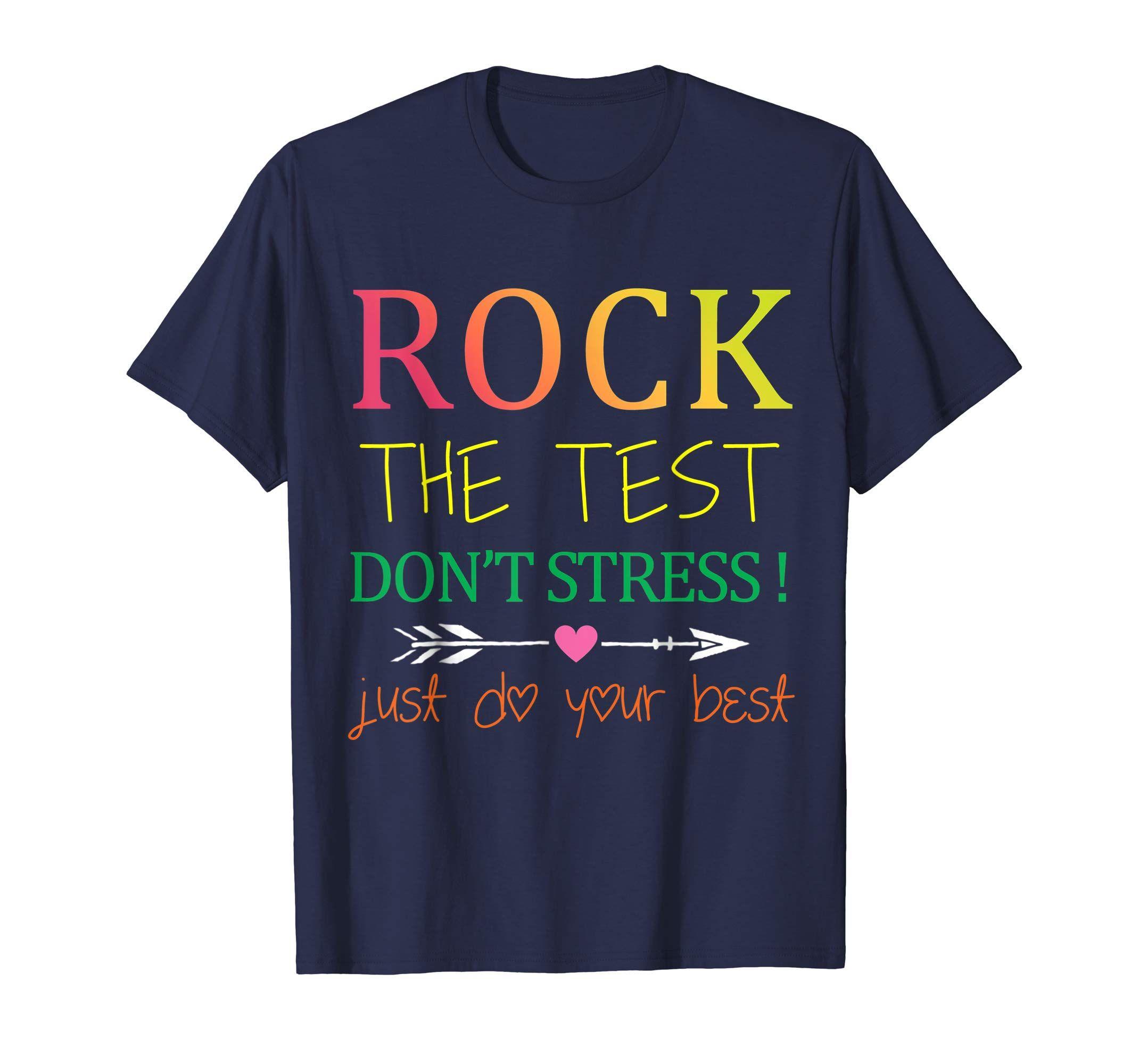 Rock The Test T-Shirt Funny School Professor Teacher Joke-Yolotee