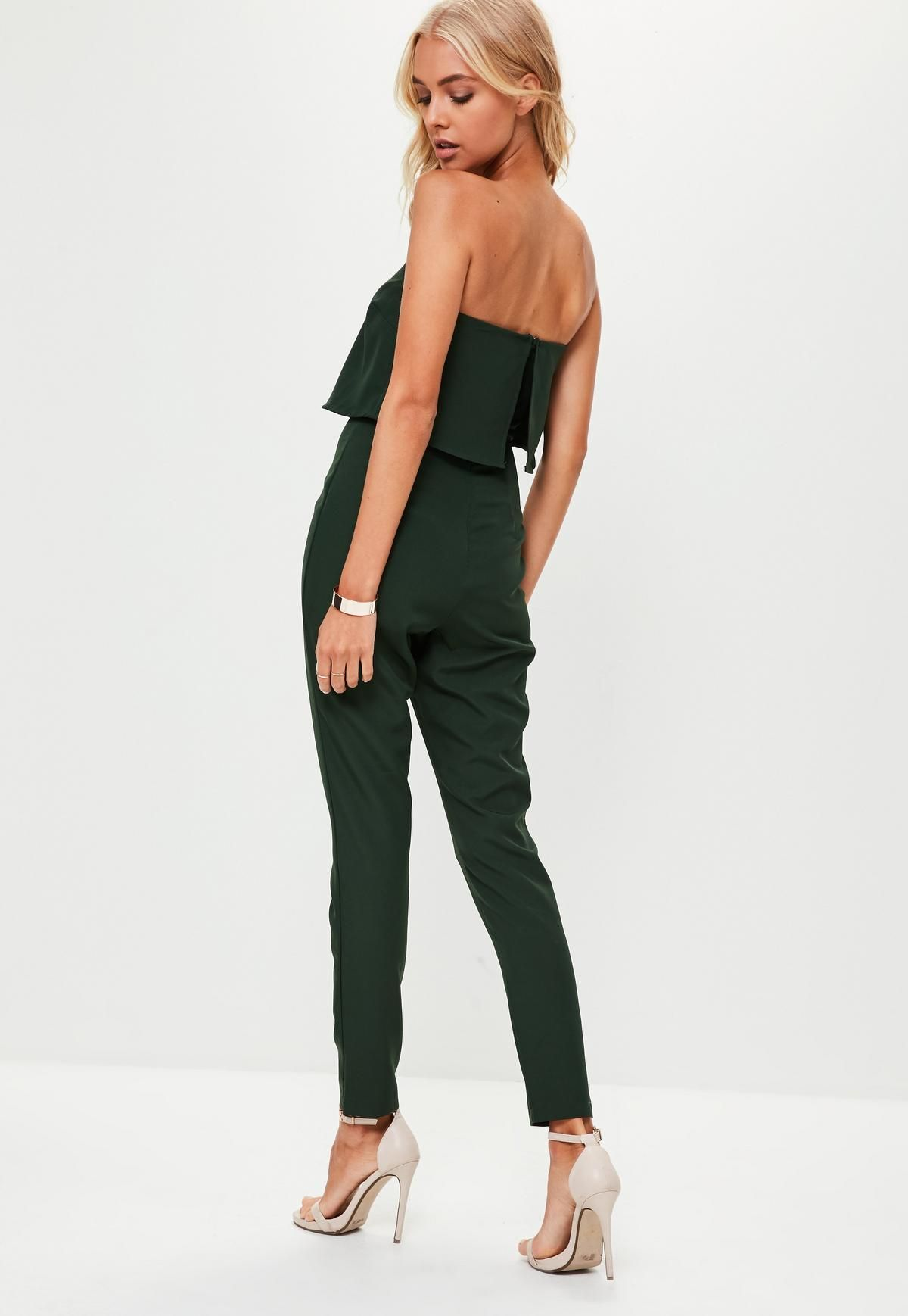 e62a39963c85 Green Bandeau Double Layer Jumpsuit in 2019