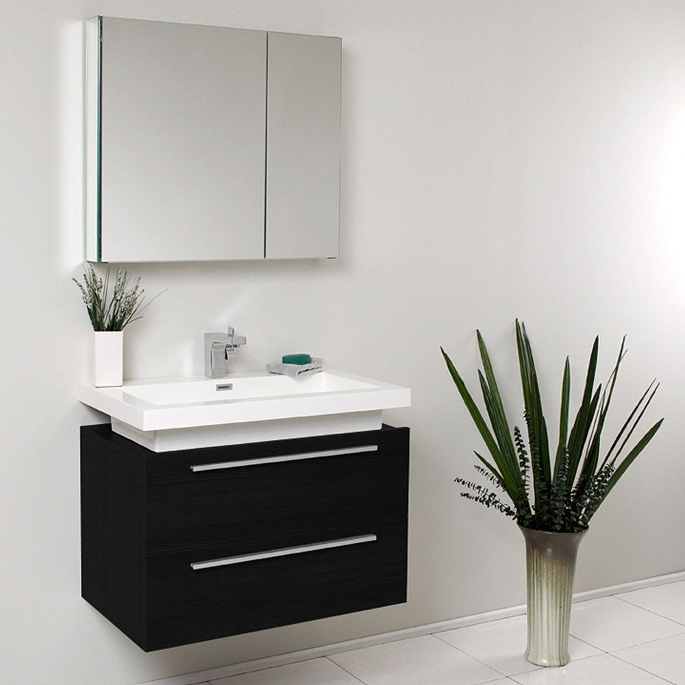 Medio Black Modern Bathroom Vanity W/ Medicine Cabinet U0026 Free Faucet